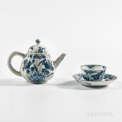 Export Porcelain Teapot, Tea Bowl, and Saucer