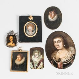 Dutch and English Schools, 16th-18th Century      Six Miniature Portraits of Aristocratic Women, One Possibly Queen Elizabeth I