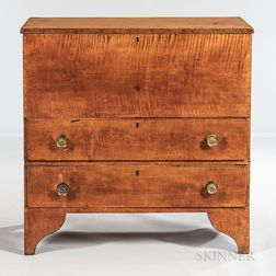 Tiger Maple Blanket Chest over Two Drawers