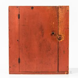 Small Red-painted Pine Hanging Cupboard