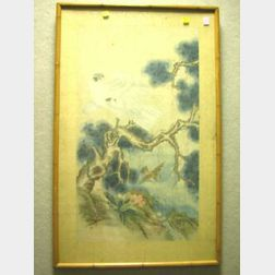 Framed Chinese Painting of a Bird of Prey on Paper.