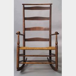 """Shaker Number """"7"""" Slat-back Production Chair with Arms and Rockers"""