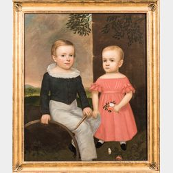 American School, Early 19th Century      Portrait of Two Children