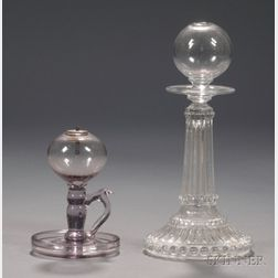 Small Free-blown Amethyst Tinted Glass Hand Lamp and a Blown and Pressed Glass Lamp