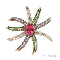 "18kt Gold and Platinum Gem-set and Diamond ""Fireworks"" Brooch, Tiffany & Co."