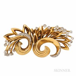 18kt Gold, Platinum, and Diamond Dress Clips