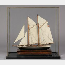 Cased Painted Wooden Model of the Schooner Yacht FLYING FISH