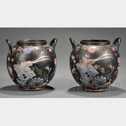 Pair of Wedgwood Black Basalt Potpourri Jars