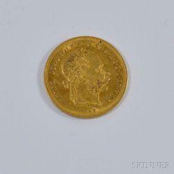 1874 Hungarian 8 Forint 20 Franc Gold Coin