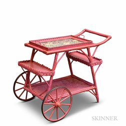 Fuchsia Wicker Tea Cart