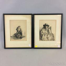 After Rembrandt van Rijn (Dutch, 1606-1669)      Two Framed Photomechanical Facsimiles: Clement de Jonghe