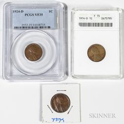Two 1914-D and a 1924-D Lincoln Cen