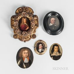 Various European Schools, 17th and 18th Centuries      Five Miniature Portrait of Noblemen, Merchants, and Clerics