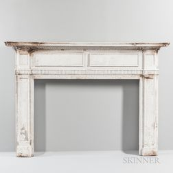 Federal Carved and White-painted Pine Fireplace Surround