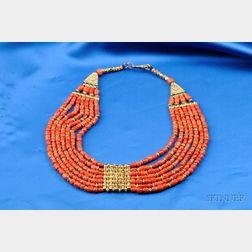 Coral Bead Bib Necklace