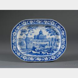 Boston State House Blue Transfer Decorated Staffordshire Pottery Platter