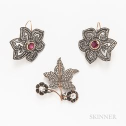 Pair of 14kt Gold, Diamond, and Gem-set Floral Earrings and a 14kt Gold and Diamond Leaf Pendant