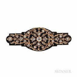 Antique Tiffany & Co. Onyx and Diamond Brooch