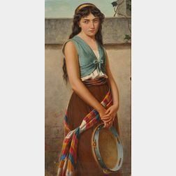 Italian School, 19th/20th Century      Portrait of a Young Girl with Tambourine