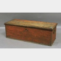 Country Painted Wood Dovetail-constructed Blanket Box with Wrought Iron Hardware