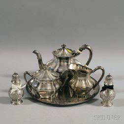Six Pieces of Sterling Silver and Silver-plated Tableware