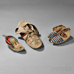 Pair of Child's Moccasins and Two Single Moccasins