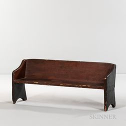 Red- and Black-painted Child's Bench