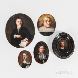 Dutch School, 17th Century      Five Oval Miniature Portraits of Men in Falling Band Collars, One Pointing to a Scroll