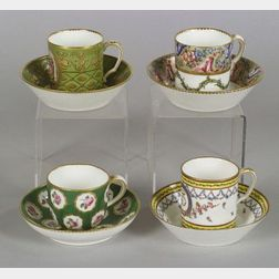 Four Sevres Porcelain Cups and Saucers
