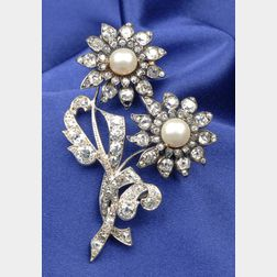 Antique Diamond and Pearl Spray Brooch