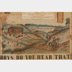 Framed William Henry Harrison Presidential Campaign Banner
