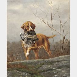 Alexander Pope (American, 1849-1924)      Hunting Dog with a Grouse