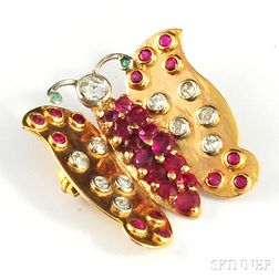 Retro 14kt Gold, Ruby, and Diamond Butterfly Brooch