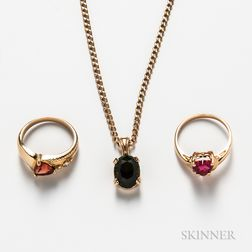 14kt Gold Gem-set Necklace and Two 14kt Gold Gem-set Rings