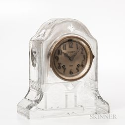 Rare Chelsea Etched Glass Mantel Clock