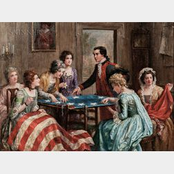 Jennie Augusta Brownscombe (American, 1850-1936)      Betsy Ross Sewing the Flag