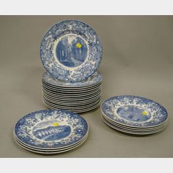 Twenty-four Wedgwood Blue Transfer Printed College Plates