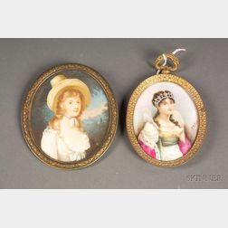 Two Oval Portrait Miniatures