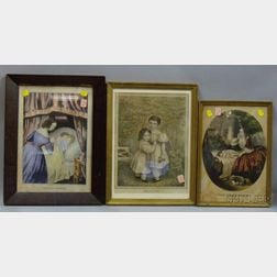 Six Framed 19th Century Hand-colored Lithograph Prints