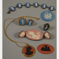 Eight Wedgwood Mostly Jasper Jewelry Items and Two Medallions