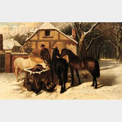 John Frederick Herring, Sr. (British, 1795-1865)      Horses at a Village Watering Trough, Winter