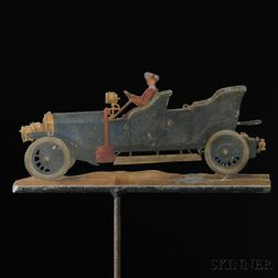 Polychrome-painted Sheet Iron Early Touring Car Weathervane