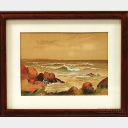 American School, 19th/20th Century    Rocky Shore with Waves