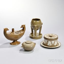 Four Wedgwood Glazed Drabware Items