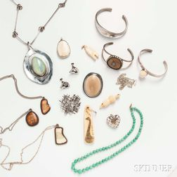Group of Sterling Silver and Inuit Jewelry