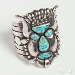 Southwestern Sterling Silver and Turquoise Figural Cuff