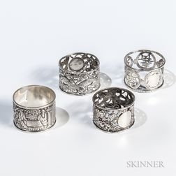 Four Chinese Export Silver Napkin Rings