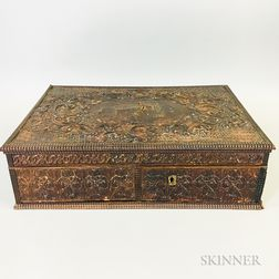 Embossed Leather-clad and Satinwood Veneer Desk Box