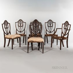 Set of Seven Carved Mahogany Shield-back Side Chairs