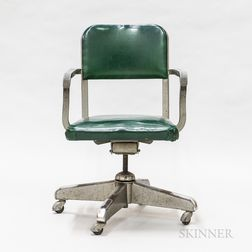 Modern Steel and Green Faux Leather Desk Chair